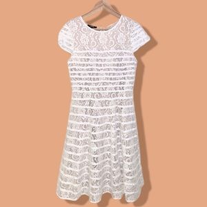 🎉HP🎉 Alfani Striped Floral Lace White Dress S